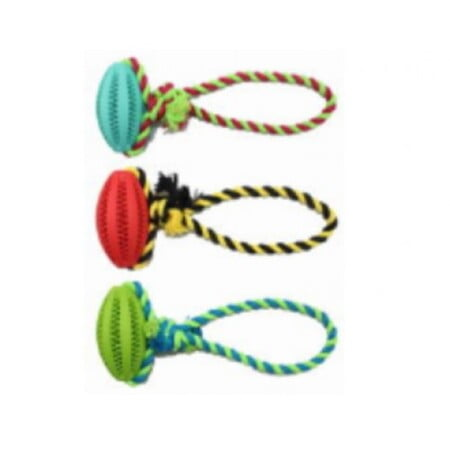 SMART LOVE PETS DENTAL RUGBY BALL WITH COTTON ROPE