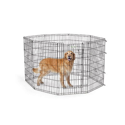 "Midwest Homes 42"" Black Exercise Pen With Full MAX Lock Door"