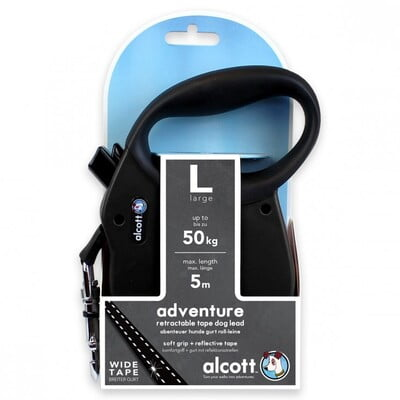 ALCOTT ADVENTURE RETRACTABLE LEASH, 5 M - LARGE - BLACK