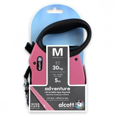 ALCOTT ADVENTURE RETRACTABLE LEASH, 5 M - MEDIUM - PINK