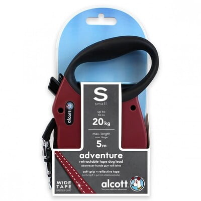 ALCOTT ADVENTURE RETRACTABLE LEASH, 5 M - SMALL - RED