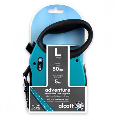 ALCOTT ADVENTURE RETRACTABLE LEASH, 5 M - LARGE - BLUE