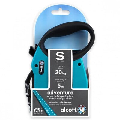 ALCOTT ADVENTURE RETRACTABLE LEASH, 5 M - SMALL - BLUE