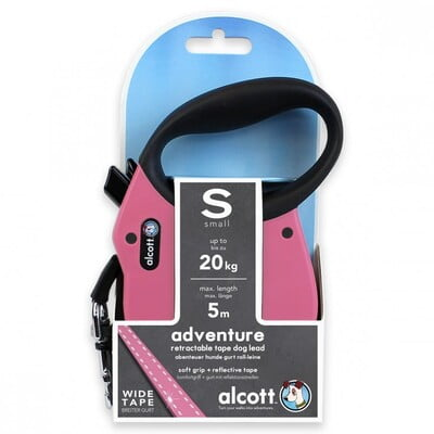 ALCOTT ADVENTURE RETRACTABLE LEASH, 5 M - SMALL - PINK