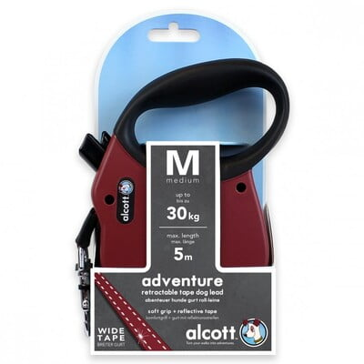 ALCOTT ADVENTURE RETRACTABLE LEASH, 5 M - MEDIUM - RED