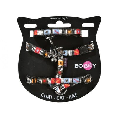 BOBBY MUSIQUE CAT HARNESS AND LEAD - BROWN/XS