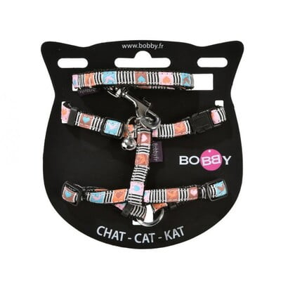 BOBBY MUSIQUE CAT HARNESS AND LEAD - PASTEL/XS