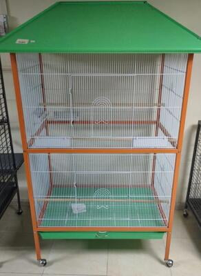 Kazdani Bird Cage with Roof( Green & orange)