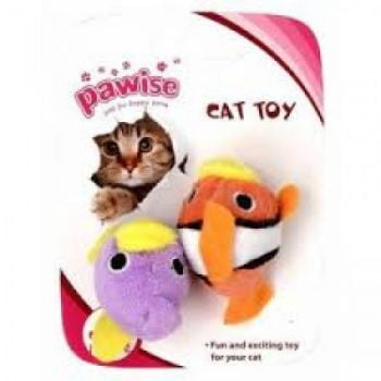PAWISE FISH CAT TOY 2PK:28134