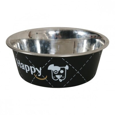 HAPPY STAINLESS STEEL DOG BOWLS - BLACK 0.8L