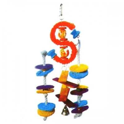 PADO HANGING TOY FOR LARGE BIRDS W/BELLS 39X18CM