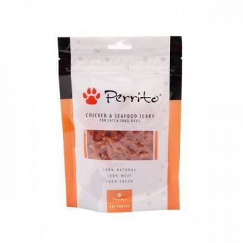PERRITO SNACK CHICKEN & SEAFOOD JERKY 100GM