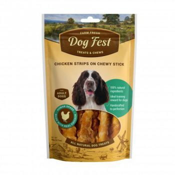 Dog Fest Chicken strips on a chewy stick for adult dogs - 90g (3.17oz) TREAT