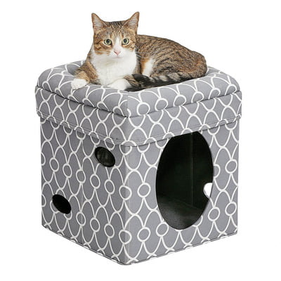 Midwest Curious Cat Cube – Grey