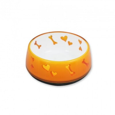 ALL FOR PAWS DOG LOVE BOWL - ORANGE /MEDIUM