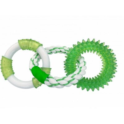 CHOMPER TRIPLE RINGS WITH TPR SPIKE, ROPE & NYLON - GREEN