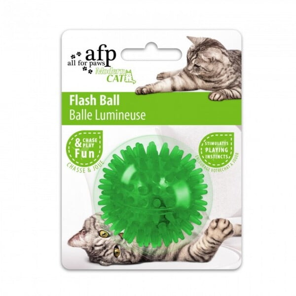 ALL FOR PAWS FLASH BALL - GREEN (CAT TOY)