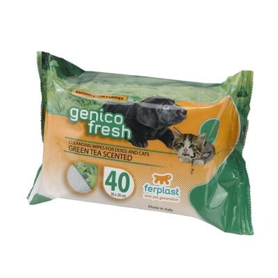 FERPLAST GENICO FRESH WIPES [GREEN TEA SCENTED] 30 x20cm- DOG/CAT-40 COUNT