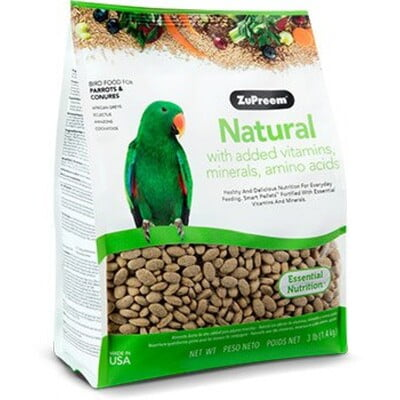 ZUPREEM NATURAL AVIAN DIET PARROTS & CONURES 3LB  (BIRD FOOD)