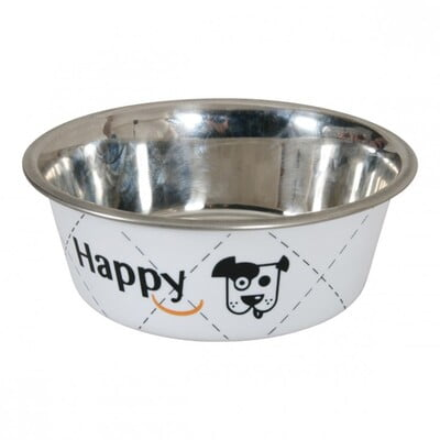 HAPPY STAINLESS STEEL DOG BOWLS - WHITE 0.4L